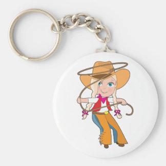 Cowgirl Kid Basic Round Button Keychain