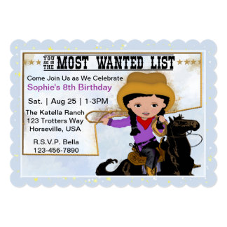 Cowgirl Most Wanted List Invitation