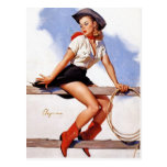 Cowgirl on a Fence Pin-Up Post Cards