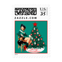 Cowgirl On Chair By Christmas Tree Postage