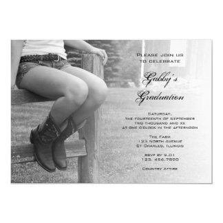 Cowgirl on Fence Barn Party Graduation Invitation