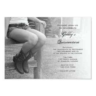 Cowgirl on Fence Barn Party Quinceañera Invitation