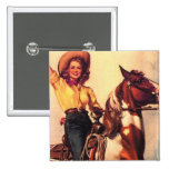 Cowgirl on Her Horse 2 Inch Square Button