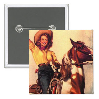 Cowgirl on Her Horse Pinback Buttons