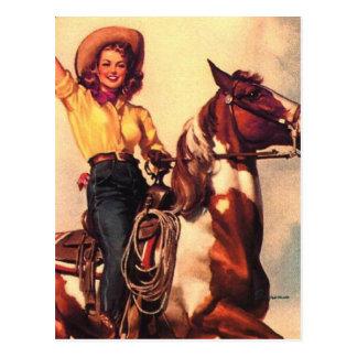 Cowgirl on Her Horse Postcard