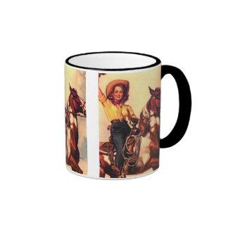 Cowgirl on Her Horse Ringer Mug