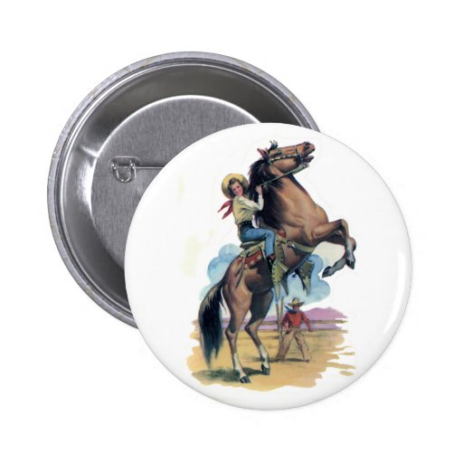 Cowgirl on Horse 2 Inch Round Button