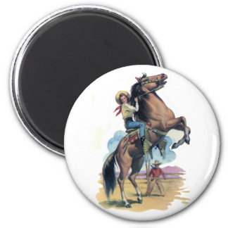 Cowgirl on Horse 2 Inch Round Magnet