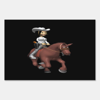 Cowgirl On Horse 2 Lawn Signs