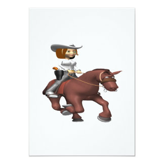 Cowgirl On Horse 3 Card