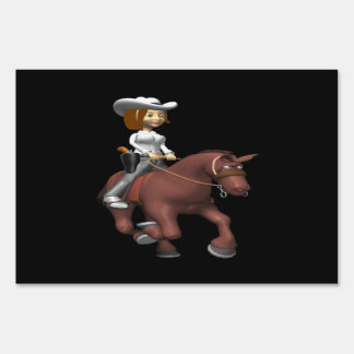 Cowgirl On Horse 3 Lawn Signs