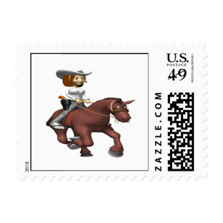 Cowgirl On Horse 3 Postage Stamps