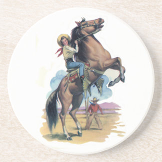 Cowgirl on Horse Beverage Coasters
