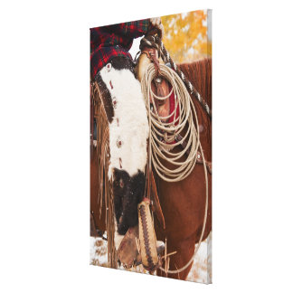Cowgirl on horse canvas print