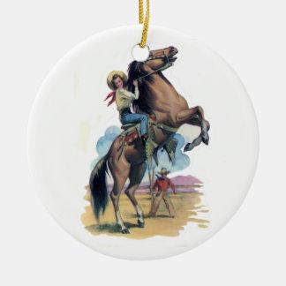 Cowgirl on Horse Ceramic Ornament