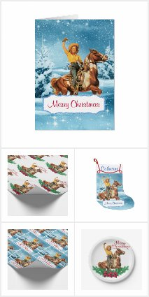 Cowgirl On Horse Christmas Holiday Collection