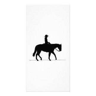 Cowgirl on Horse Custom Photo Card