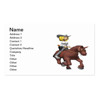 Cowgirl On Horse Double-Sided Standard Business Cards (Pack Of 100)