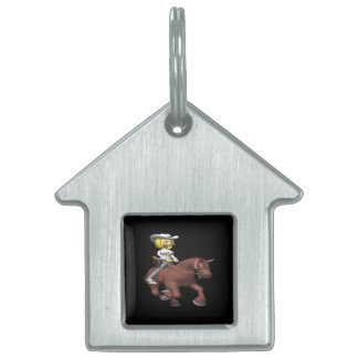 Cowgirl On Horse Pet ID Tags