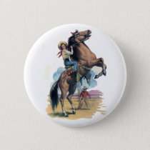 Cowgirl on Horse Pinback Button