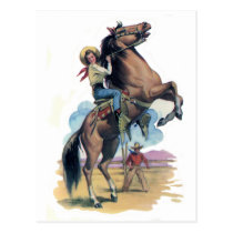 Cowgirl on Horse Postcard