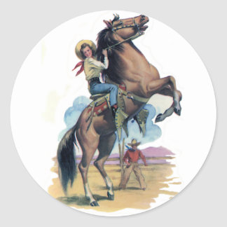 Cowgirl on Horse Classic Round Sticker