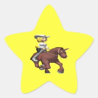 Cowgirl On Horse Star Sticker