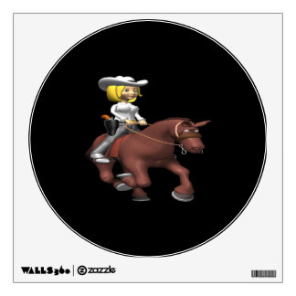 Cowgirl On Horse Wall Decal
