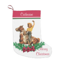 Cowgirl On Horse With Wreath Merry Christmas Small Christmas Stocking