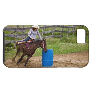 Cowgirl on horseback practicing barrel racing in iPhone SE/5/5s case