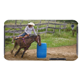 Cowgirl on horseback practicing barrel racing in iPod touch case