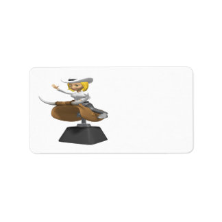 Cowgirl On Mechanical Bull Label