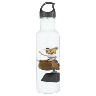 Cowgirl On Mechanical Bull Stainless Steel Water Bottle