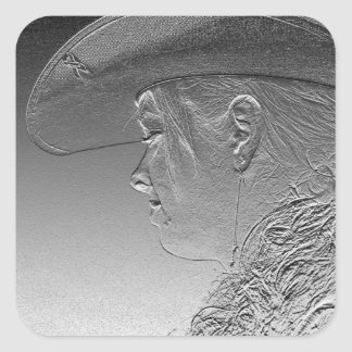 Cowgirl on silver metallic background square sticker