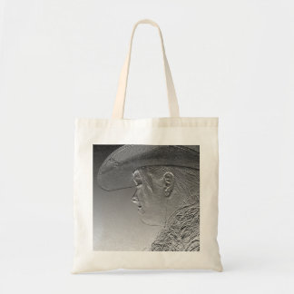 Cowgirl on silver metallic background tote bag