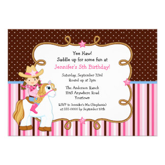 Cowgirl on White Horse Birthday Personalized Invitations