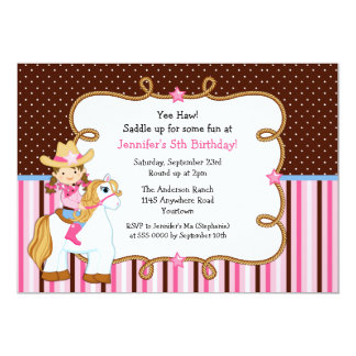 Cowgirl on White Horse Birthday 5x7 Paper Invitation Card