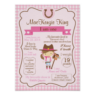 CowGirl one year sign for your birthday girl Poster