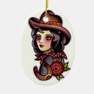 Cowgirl Double-Sided Oval Ceramic Christmas Ornament
