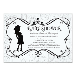 """Cowgirl paisley country baby shower invitation 5"""" x 7"""" invitation card"""