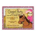 """Cowgirl Personalized Invitaton 5"""" X 7"""" Invitation Card"""