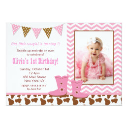 Cowgirl first birthday gifts on zazzle cowgirl photo birthday invitations filmwisefo Images