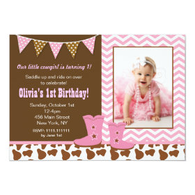Cowgirl Photo Birthday Invitations 5