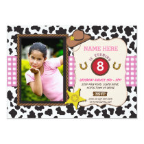 Cowgirl Photo Birthday Party Cow Girl Pink Invite