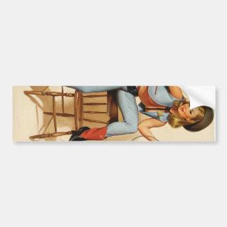 Cowgirl Pin-up Girl Bumper Sticker