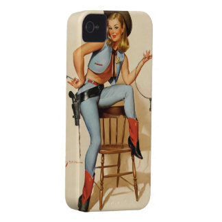 Cowgirl Pin-up Girl Case-Mate iPhone 4 Case
