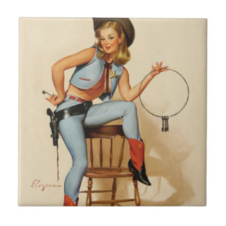 Cowgirl Pin-up Girl Ceramic Tile