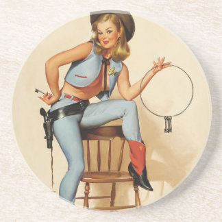 Cowgirl Pin-up Girl Coaster