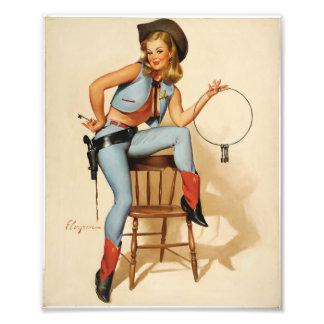 Cowgirl Pin-up Girl Photo Print