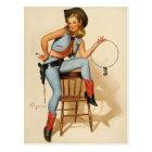 Cowgirl Pin-up Girl Postcard